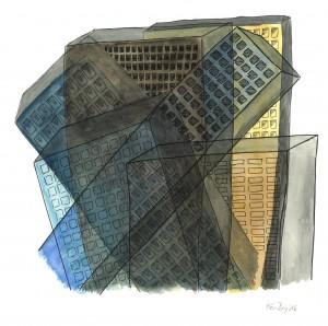 Chaos, City, painting, drawing watercolor