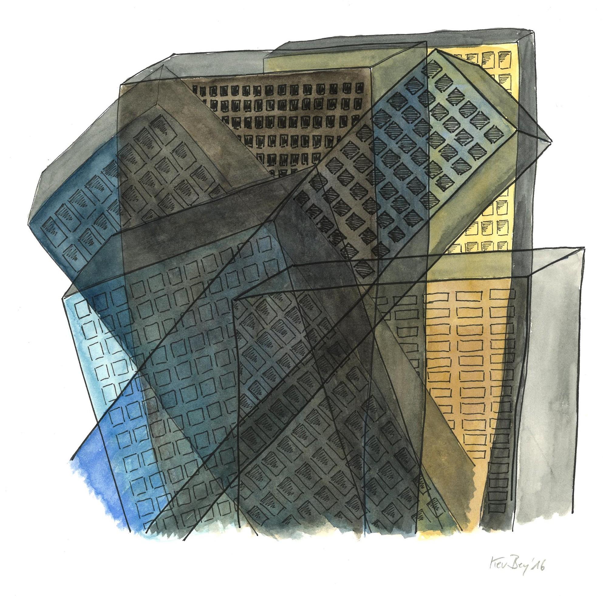 Kerstin Carolin Beyer, Transparenz, transparency, Chaotic City, painting, drawing, watercolor, ink, Chaos, City, painting, drawing watercolor