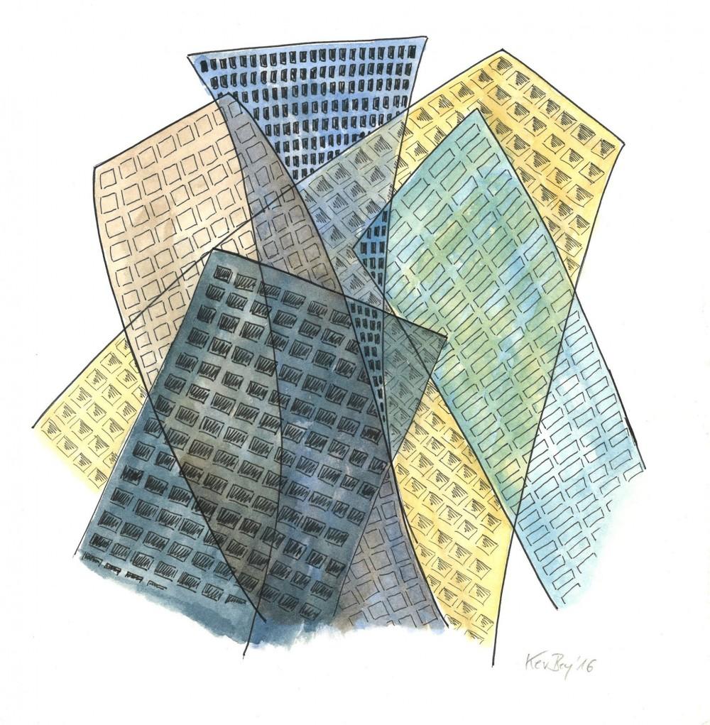 Kerstin Carolin Beyer, Transparenz, transparency, Chaotic City, painting, drawing, watercolor, ink
