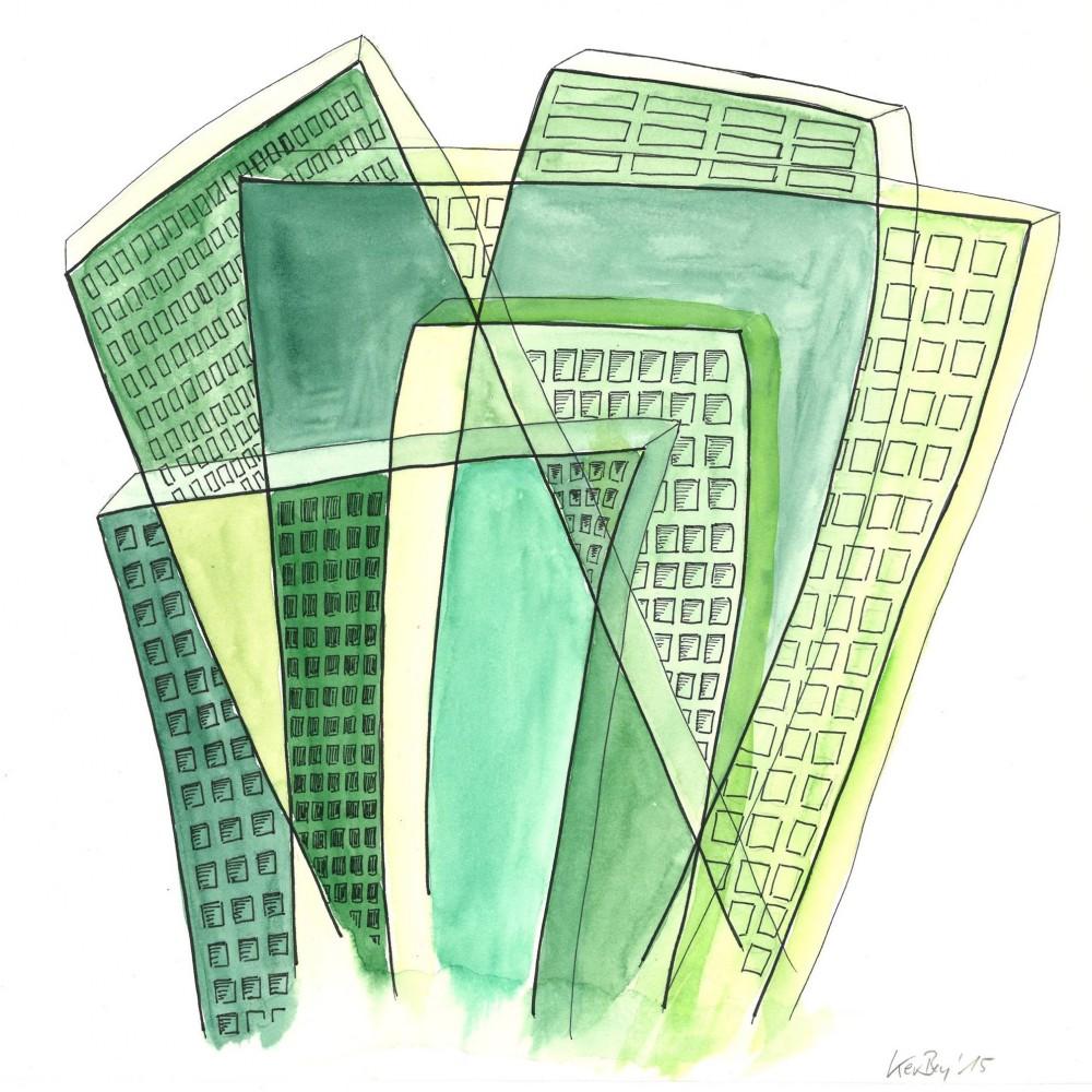 Kerstin Carolin Beyer, Transparenz, transparency, Chaotic City, painting, drawing, watercolor