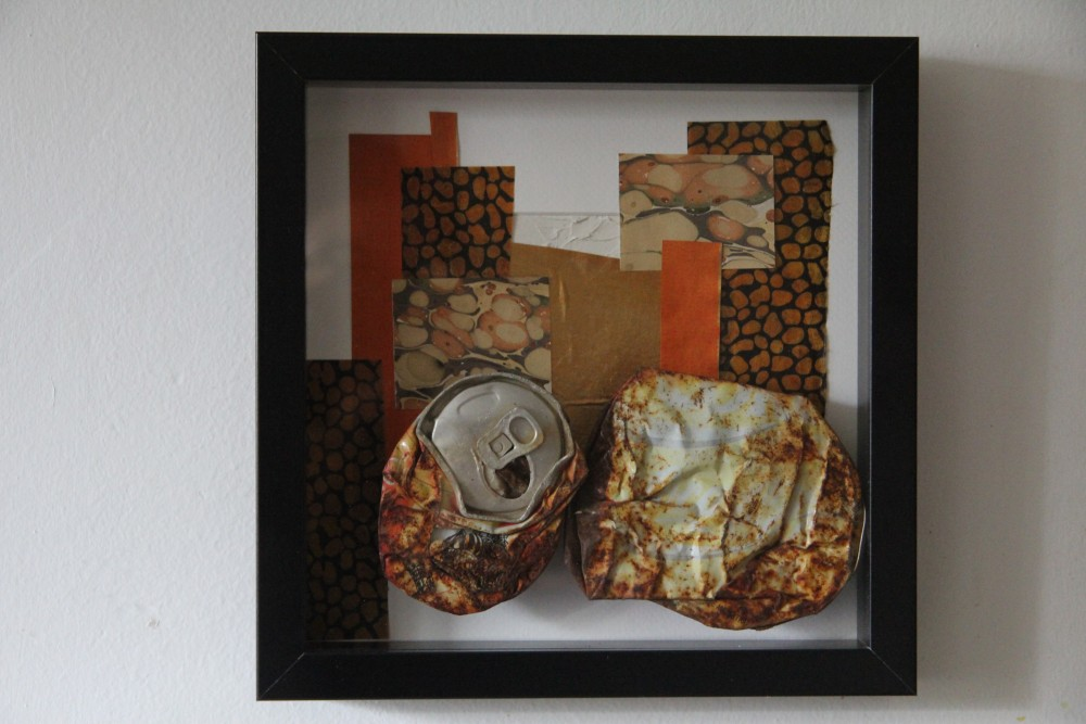 Kerstin Carolin Beyer, collage, arte, art, caja, latas,