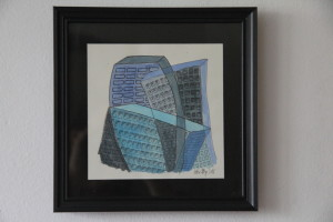Kerstin Carolin Beyer, Chaotic city, blue, drawing, dibujo colorado, azul, cubismo, ink, watercolor