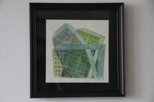 Kerstin Carolin Beyer, Chaotic city, green, drawing, dibujo colorado, verde, cubismo, ink, watercolor
