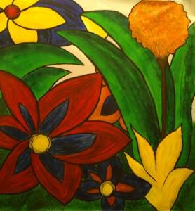 Kerstin Carolin Beyer, painting, art, colors, Acrilic on canvas, colores, arte, pintura, Flowers,